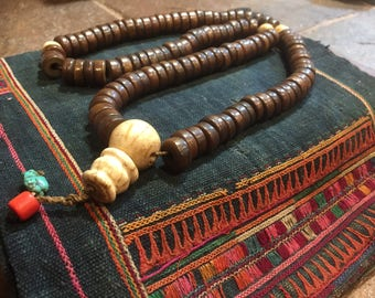 Old Antique aged Buddhist Monk Prayer beads/necklace--108 beads with coral and turquoise found in Tibet