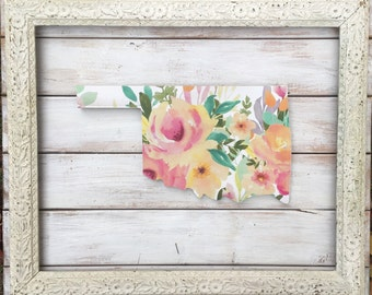 State Home Sign. Oklahoma Home Sign. Oklahoma Sign. Rustic Home Decor. State Sign. New Home. Gift for the home. gift for her. floral art