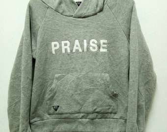 """Vintage Backs hoodies """"praise"""" embroided / pull over / jumper / grey / F size"""