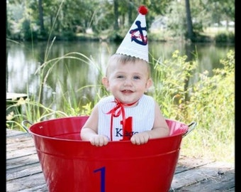 Boys Birthday Party Hat and Bib - Nautical Theme, blue, red, white - Completely Custom