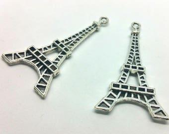 Silver x 1 XL charm - Eiffel Tower Paris France travel vacation - metal - jewelry customization