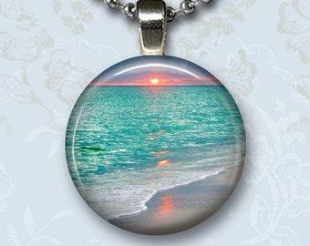 Sunset Beach Photo Charm Pendant, Aqua Blue Sea Glass Dome Jewelry, Silver Chain Necklace