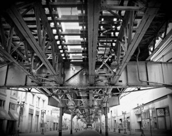 Chicago Photography| The L| Train|  Chicago Wall Art| Urban|  Black and White| Oversized Prints |Large Home Decor| Photography