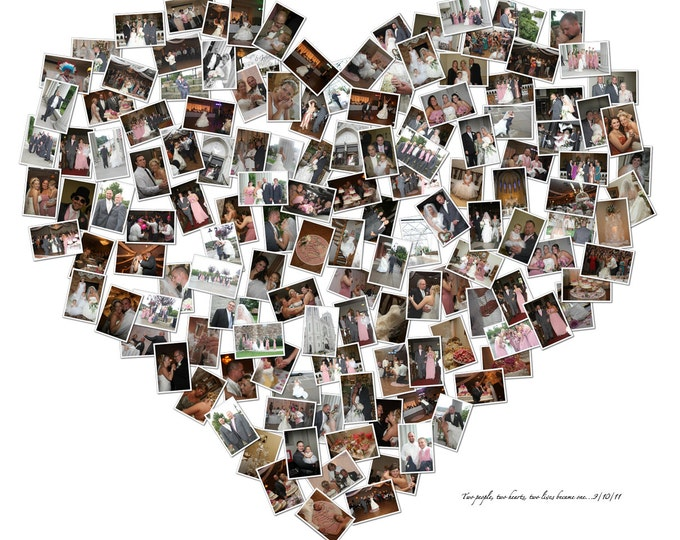 Heart Collage 2nd Anniversary Gift Cotton Anniversary Gift For Couple Gift For Boyfriend Gift For Girlfriend Mosaic Collage Photo Gift 20x24