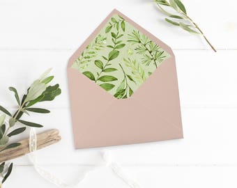 Botanical Envelope Liner, Printable Greenery Envelope Liner, Watercolor Leaves Envelope Liner, Foliage Liner, Download 105-A 126-W 035-W
