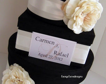 Card Box for Wedding, Wedding Card Box, Card Box with Slot, Modern Card Box, Black and Ivory Card Holder, Card Box for Bridal Shower, Custom
