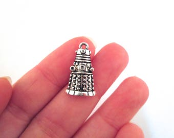 Small Doctor Who Dalek Charms, Silver Plated, Pick the Amount, G6