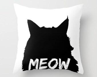 Cat Pillow, Meow Pillow, Black & White Cushion Cover, Modern Throw Pillow Black Cat Accent Pillow, Funny Pillow Cat Silhouette Cushion