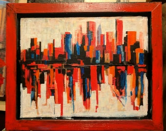 Skyline 18.03 . 8x10 original framed mixed media painting