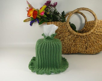 Ruffled Tissue Box Cover Sage - Boutique Tissue Box Cover - Crocheted Kleenex Box Cover - Nursery Tissue Cover - Tissue Cover