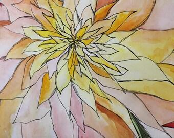 Vivid watercolor, Downloadable art, jellyfish, anemone flowers, Underwater, red watercolor, sea anemone, 5th year wedding anniversary