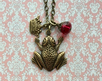 Frog Necklace - Frog Prince - Frog Jewelry - Romantic Necklace - Girlfriend Gift - Romantic Jewelry - Fairy Tale Jewelry - Kiss the Frog