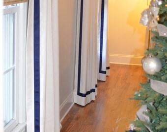 Pleated Linen Drapery Panels with Gross grain banding