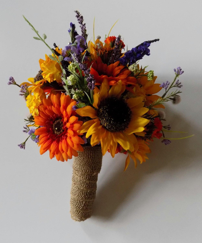 Fall Wedding Boutonniere Ideas: Wildflower Wedding Bouquet Sunflower Bridal Bouquet