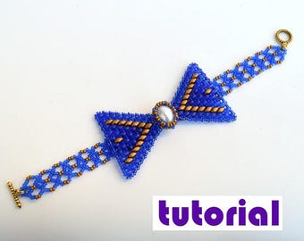 Tutorial: Bow tie bracelet and necklace Beading instructions Beading pattern Bracelet tutorial Necklace tutorial seed beads PDF tutorial T14