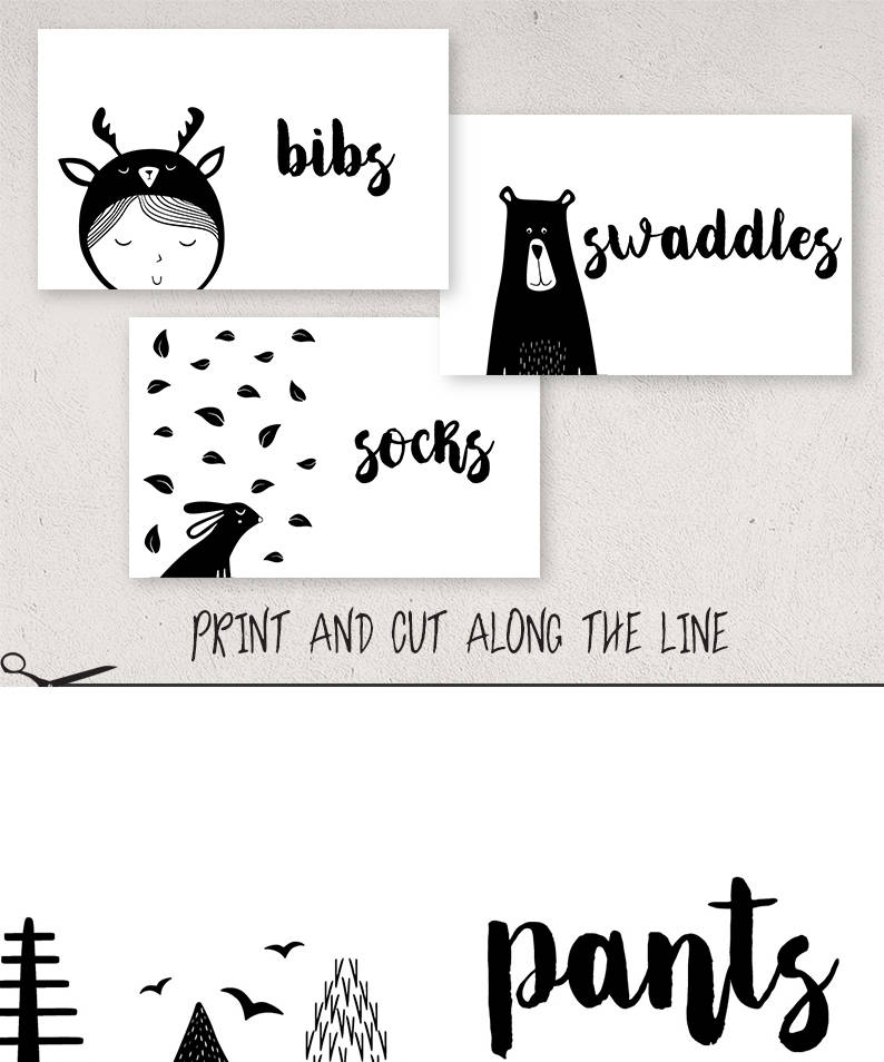Black And White Baby Drawer Organizer Nursery Organization Printable Labels Stickers