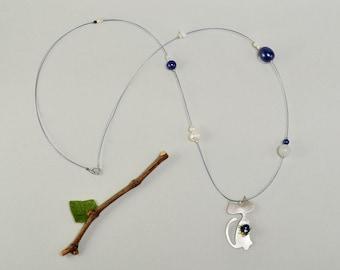 Sterling silver cat necklace, big cat pendant, long collar, kitten jewelry, lapis long necklace, feline choker, sterling silver collar