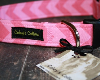 "Dog Collar Chevron, Dog Collar, Dog Collars, Girl Dog Collar, Boy Dog Collar, Trendy Dog Collar, Pink Chevron, ""The Chevron in Pink"""