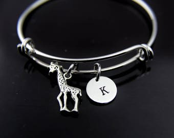 Giraffe Charm Bracelet Silver Giraffe Charm Bangle Giraffe Jewelry Expandable Bangle Personalized Bangle Initial Charm Initial Bangle