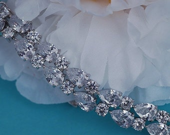 Silver or Rose Gold Bridal CZ Bracelet Swarovski Crystal Zirconia Party Bracelets Bride Wedding Zircon Accessory Accessories Weddings Brides