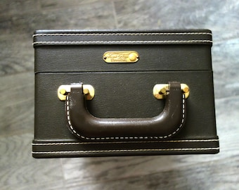 Vintage Travel Case, Trans-World Creations Dark Brown Case for Traveling Bar or Coffee...Missing Inner Pieces, Wear/Scratches, Case Only
