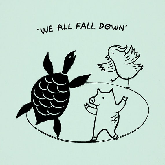We All Fall Down - animal art poster print by Oliver Lake - iOTA iLLUSTRATiON