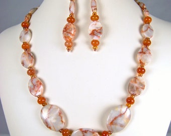 Coral Shimmer - Redline Marble accented with Red Jasper