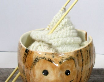 Cat Yarn bowl Pottery ceramic Knitting bowl  Knitter gift Cat collector Ready to ship