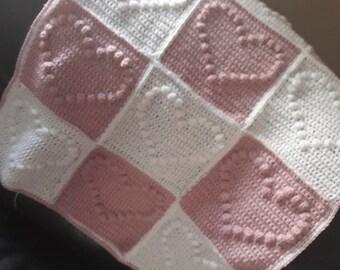 Heart baby blanket, crochet , nursery throw, new baby gift, cot blanket, baby shower