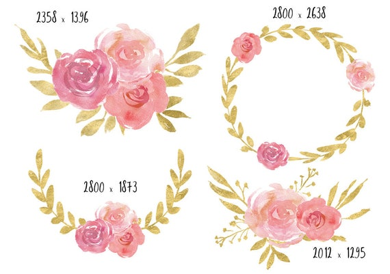 Pink and gold clipart watercolor clipart watercolor flowers like this item mightylinksfo