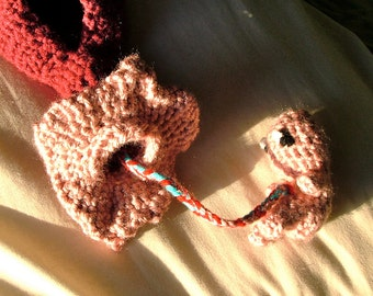 Fetus, Uterus and Vagina Crochet Plush, with Fallopian Tubes and Ovaries, and Vaginal Canal