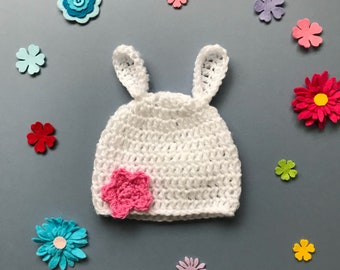 Rabbit ears beanie hat; bunny hat with ears