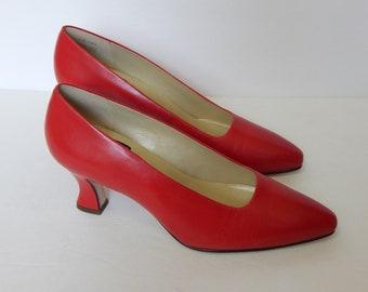 Vtg Nine West Red Pumps Leather Shoes Size 8 Medium Dalton (B-165)