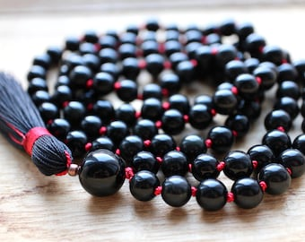 Obisdian Mala Beads 108, Mala Necklace, Black Mala, Yoga Necklace, Meditation Beads, Yoga Jewelry, Tassel Necklace