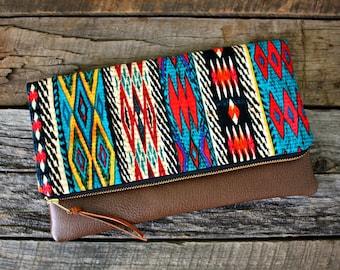 Tribal Bohemian Fabric Foldover Clutch