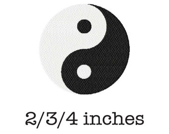 Yin yang machine embroidery design 2/3/4 inch instant download