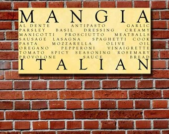 Mangia Italian Kitchen Word Art 10x20 inch STOCK Typography Canvas, Italia, Kitchen Art,