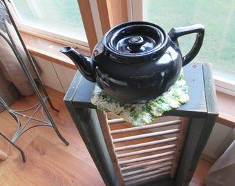 Vintage PRETTY BLACK TEAPOT, Pot Belly Tea Pot, Small Porcelain Glazed Tea Pot, Excellent Condition 1950's