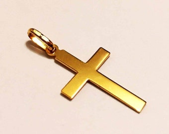 """18k solid yellow gold(1""""inch)engravable  cross"""