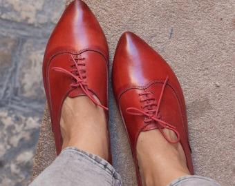 Women Leather Shoes, Leather Oxfords, Oxford Shoes, Painted Leather Shoes, Closed Shoes, Red Shoes, Handmade, Free Shipping