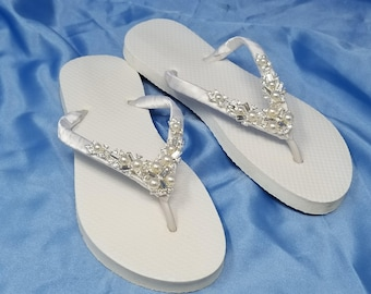 Sparkling White Bridal Flip Flops - White Flip Flops with Pearls and Rhinestones Bridal Flip Flops Beach Wedding Sandals Bridal Sandals