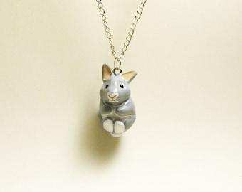 necklace tiny grey bunny rabbit