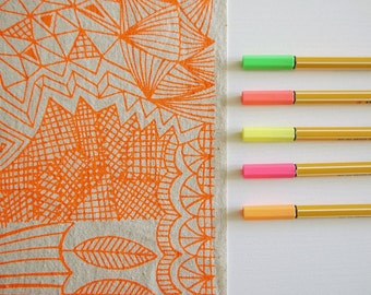 Tangle - screen printed fabric hand screen printed fabric for patchwork, sewing, embroidery & crafting  in neon + metallic colours/colors