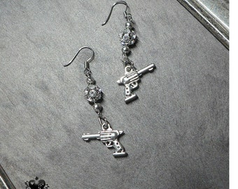 Crystals and Pistols Charm Earrings