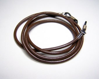 Brown Chain For Glasses, 3mm Leather, Eyeglass Cord, Custom Length 24-36 Inches, Gift for Him