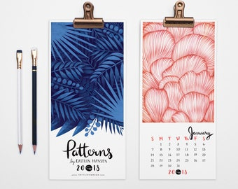 2018 Calendar, Wall Calendar, Pattern Calendar, Christmas Gift, Holiday Gift, Desk Calendar, Illustrated, 2018 Desktop Calendar, Magnet