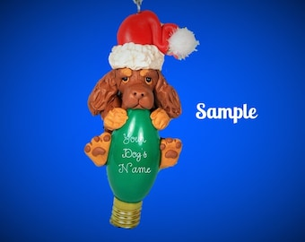 Chocolate and Tan Cocker Spaniel Santa dog Christmas Holidays Light Bulb Ornament Sally's Bits of Clay PERSONALIZED FREE with dog's name