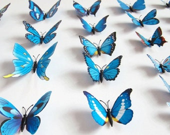 12Pc 3D PVC Butterflies Wall Stickers Decoration Wedding Cake Toppers Home Decor School Craft DIY  -  Blue Shades