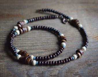 Dark wooden necklace for MEN - trendy beaded wood jewelry - tribal, surfer, for him