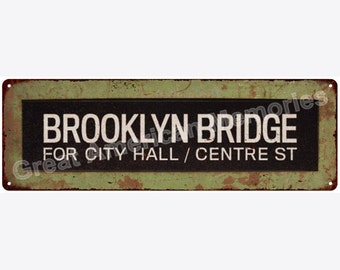 BROOKLYN BRIDGE Trollery Bus Roll Vintage Reproduction Metal Sign 6x18 6180561